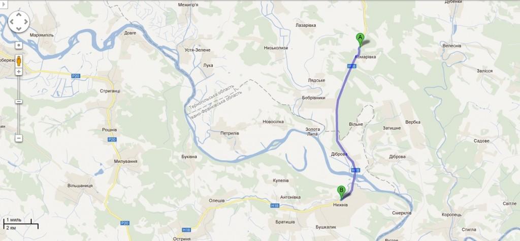 Села Комарівка та Нижнів на сучасній адміністративній мапі України. Відстань між населеними пунктами: 10 км.