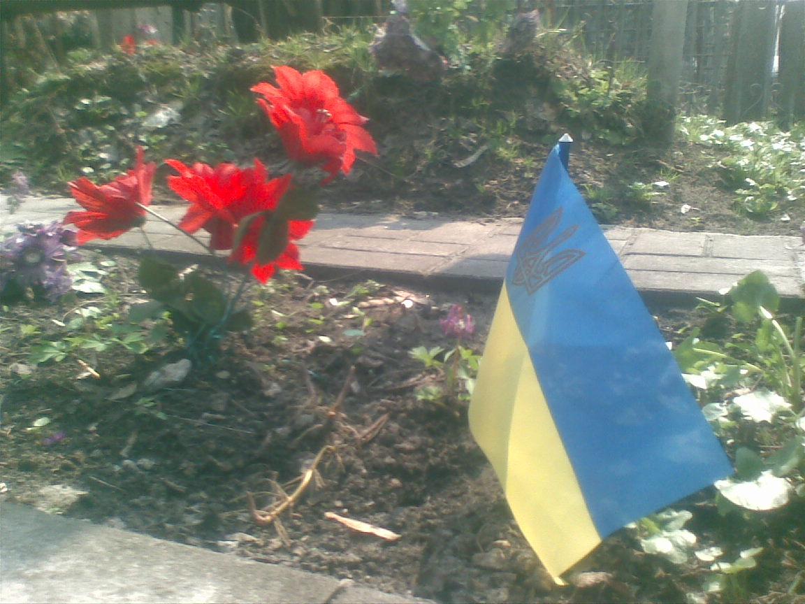 Державний прапорець на могилі полуботківця Миколи Забіяки