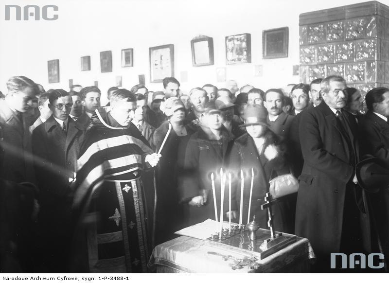 Панотець Матвій Сємашко відправляє панахиду за С. Петлюрою. Краків, Польща, 1927 рік.