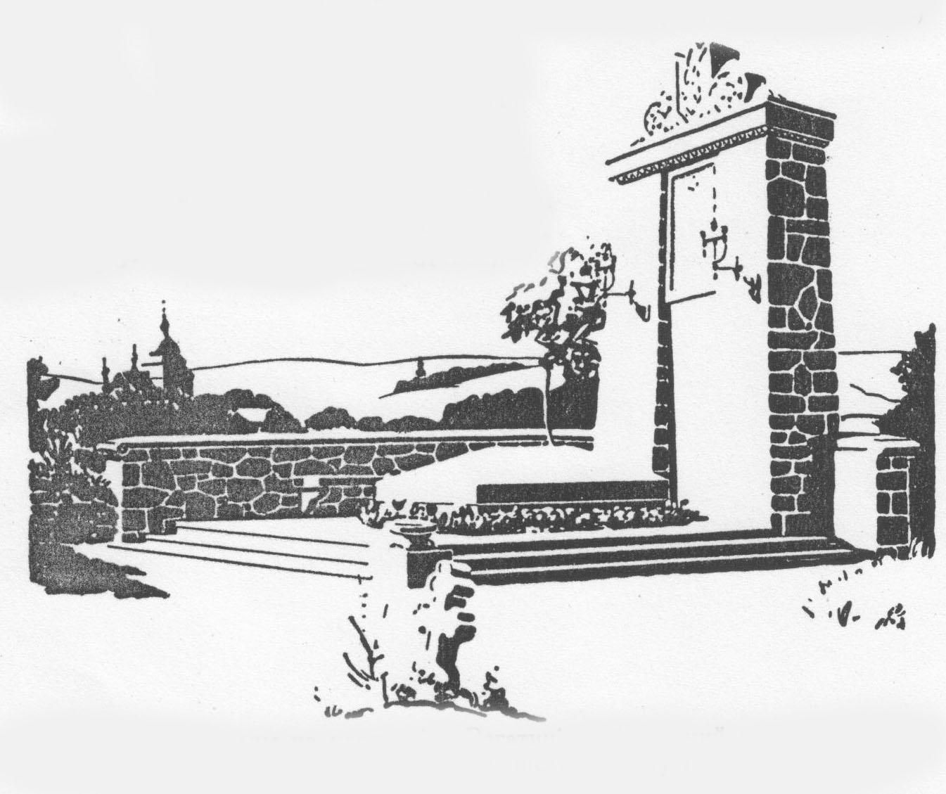 Памятник поляглим на цвинтарі в Рогатині, вибудований коштом й заходом громадянства Рогатинщини після проєкту інж. Грицая.