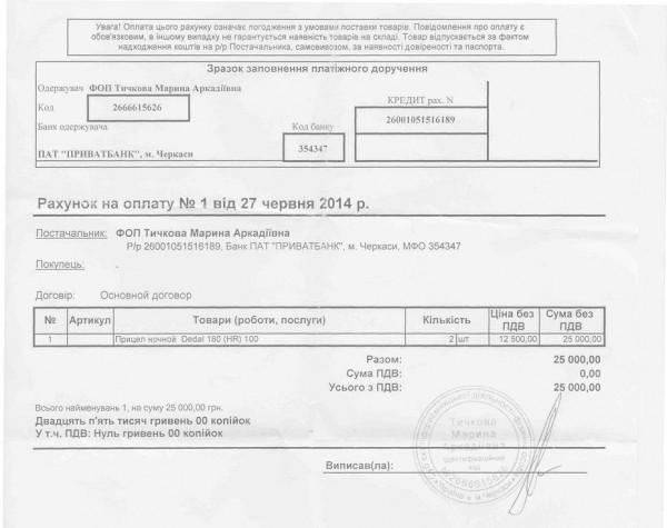 Фінансовий документ, що підтверджує придбання оптики