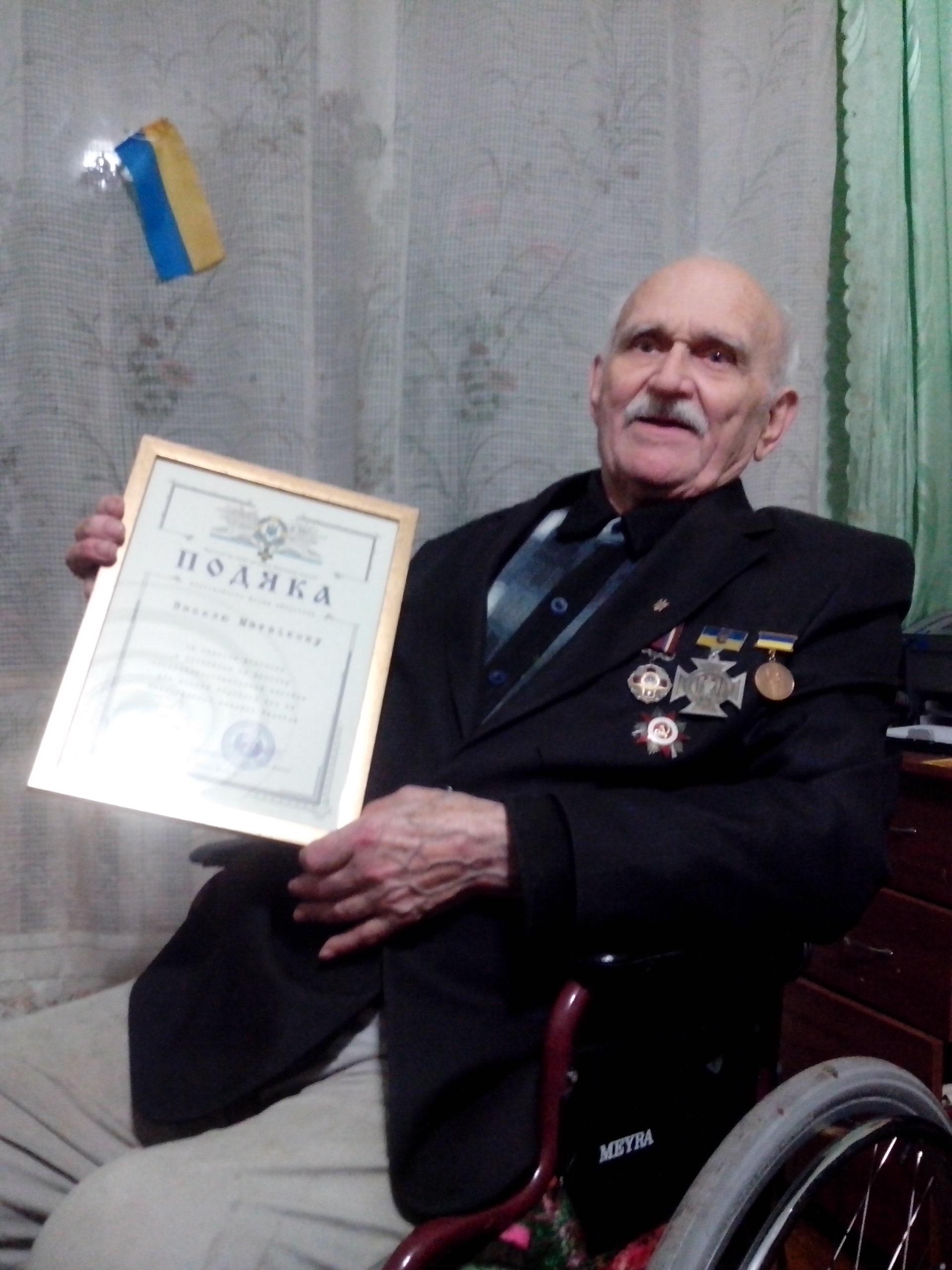 """Василь Матвієнко з подякою від """"Героїки"""""""