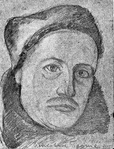 Карліс Броже, помічник командира полку Чорних Запорожців. Серпень 1920 р. Малюнок Василя Перебийноса.
