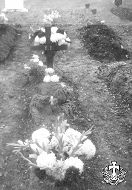 Могила Василя Перебийноса. Цвинтар Ґаннерзбері в Лондоні. Фото Тетяни Перебийніс (вдови) - 05.12.1966.